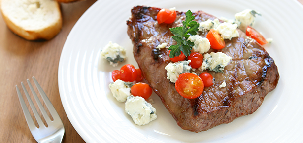 Grilled Sirloin with Tomatoes and Blue Cheese