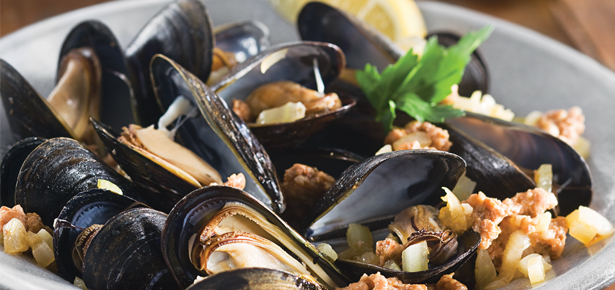 Grilled Mussels with Chorizo