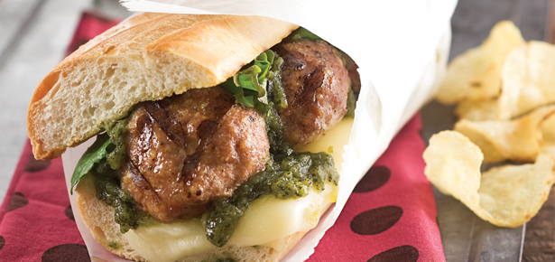 Grilled Pesto–Turkey Meatball Sandwiches
